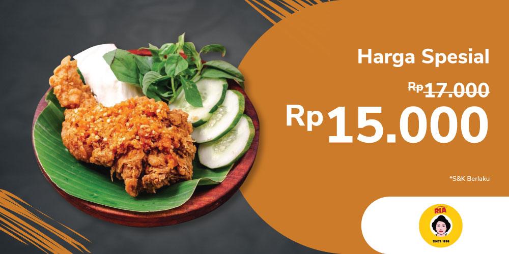 Gambar promo Promo Ayam Penyet Ria cuma Rp15,000 dari Ayam Penyet Ria Cibinong.